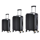 "3 Piece Deluxe Ultra Light Tough Luggage Suitcase Set (Jet Black) (28"", 24"", 20"")"