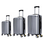 "3 Piece Deluxe Ultra Light Tough Luggage Suitcase Set (Pearl Silver) (28"", 24"", 20"")"