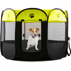 Portable Foldable Pet Dog Cat Playpen (Large, Black & Yellow)