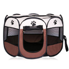 Portable Foldable Pet Dog Cat Playpen (Medium, Chocolate & Cream)