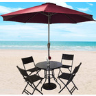Alfresco 7 Piece Outdoor Setting (Maroon Umbrella & Stand, 4 Rattan Chairs, Round Table)