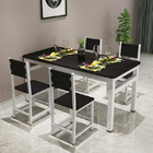 5 x Piece Set Bliss Large Wood & Steel Dining Table Chairs (Black & White)