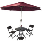 Alfresco 5PC Outdoor Setting (Umbrella & Stand, 2 Rattan Chairs, Round Table)