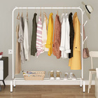Large Coat Hanging Stand Wardrobe Clothes Hanger Rack (White)