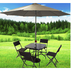 Alfresco 7 Piece Outdoor Setting (Beige Umbrella & Stand, 4 Rattan Chairs, Square Table)