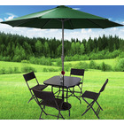 Alfresco 7 Piece Outdoor Setting (Green Umbrella & Stand, 4 Rattan Chairs, Square Table)