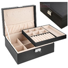 Deluxe PU Leather Jewellery Box Storage Case Organiser (Black)
