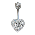 Heart Shaped Sterling Silver Navel Ring Body Piercing