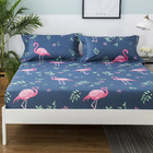 3-Piece Flamingo Bedding Set Fitted Sheet and Pillowcases - King Size 180cm