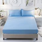 3 PC Set Luxe Bedding Set Waterproof Fitted Sheet/Mattress Protector and Pillowcases - Queen Size (Blue)
