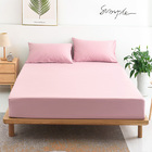 3 PC Set Luxe Bedding Set Waterproof Fitted Sheet/Mattress Protector and Pillowcases - King Size (Pink)