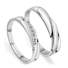 2 PC Set Sterling Silver Soft Curves Wedding Rings (Couple Collection)