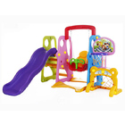 5 in 1 Outdoor Children's Play Swing Slippery Slide Basketball & Football Set