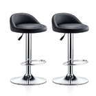 2 x Varossa PU Leather Bar Stools (Black - Set of 2)