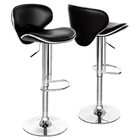 2 x Resort Designer PU Leather Bar Stools (Black - Set of 2)