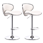 2 x Resort Designer PU Leather Bar Stools (White - Set of 2)