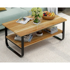 Elegance Wood & Steel Coffee Table with Shelf (Black and Oak)