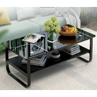 Large High Gloss Elegance Coffee Table with Shelf (Glossy Black)