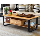 Serenity Wood & Steel Coffee Table with Drawer (Oak & Black)