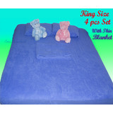 Deluxe King Size 4 pc Bedding Set Fitted Sheet +Thin Blanket + Pillowcases BLUE