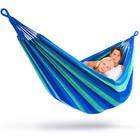 DOUBLE Large Cotton Hammock with Bag (Blue & Green Stripes)
