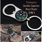 3 In 1 Compass Bottle Opener Key Chain Outdoor Camping Travel Navigation Keyring