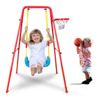Kids 2 In 1 Indoor Outdoor Swing & Basketball Set