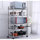 5 Tier Large Stainless Steel Multipurpose Storage Shelf/ Kitchen Service Trolley