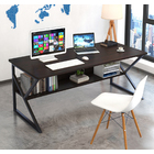 Kori Large Wood & Metal Computer Desk with Shelf (Black)