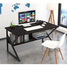 Kori Wood & Metal Computer Desk with Shelf (Black Walnut) - Small 80cm
