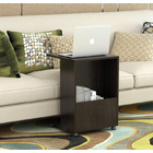 Hermes Sofa Side Table with Magazine Holder (Black Walnut))
