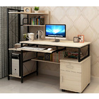Prime Large Multi-function Computer Desk Workstation with Shelves & Cabinet (White Oak)