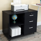 Vibe 3 Drawer and Shelf Utility Side Table with Wheels (Black Wood)