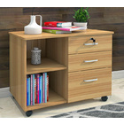 Vibe 3 Drawer and Shelf Utility Side Table with Wheels (Natural Oak)