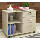 Vibe 3 Drawer and Shelf Utility Side Table with Wheels (White Oak)