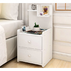 Everest Tall Bedside Table with Chest of Drawers and Shelf (White)