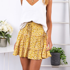 Darling Ladies Floral Frill Trim Skirt (Yellow)