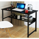 Studio Wood & Metal Computer Desk with Shelf (Black)
