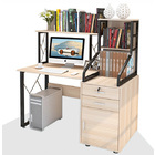 Everest Large Multi-function Computer Desk Workstation with Shelves & Cabinet (White Oak)
