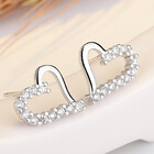 Sterling Silver Classic Love Heart CZ Diamond Earrings