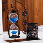 Blue Sand Hourglass with Pen Holder Home Décor Gift