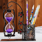 Purple Sand Hourglass with Pen Holder Home Décor Gift