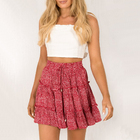 Darling Ladies Floral Frill Trim Skirt (Red)