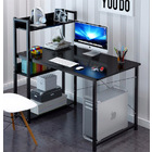 Edge Combination Workstation Computer Desk with Storage Shelves (Black)