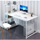 Edge Combination Workstation Computer Desk with Storage Shelves (White)