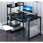 Edge Plus Combination Workstation Computer Desk with Storage Shelves (Black)