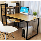 Genius Large Workstation Wood & Steel Computer Desk with Storage Shelves (Oak)
