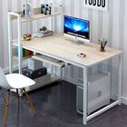 Genius Large Workstation Wood & Steel Computer Desk with Storage Shelves (White Oak)