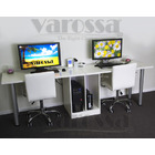 Varossa's Focus Double Workstation 2 In 1 Computer Desk (White)