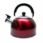 Stainless Steel Stove Top Whistling Kettle Red